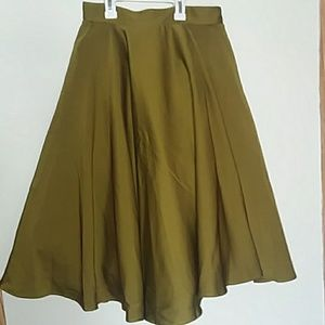 Olive green A-line skirt